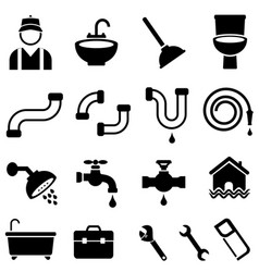 Kitchen bathroom and house plumbing icons vector