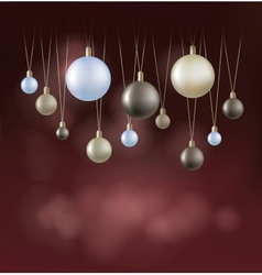 Christmas background with hanging ball vector image