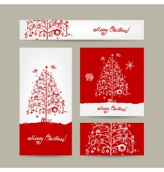 Merry christmas set of postcards with winter tree vector image