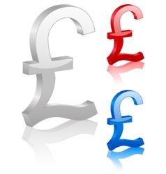 3D british pound symbol vector image vector image