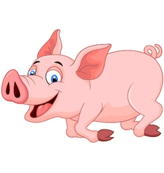 Cartoon pig running vector