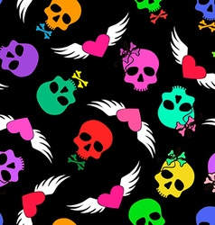 Seamless pattern of funny skulls and winged hearts vector