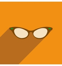 Flat icon with long shadow glasses accessory vector