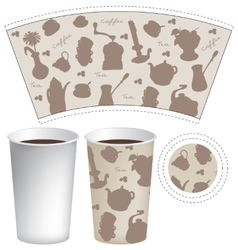 Template paper cup for coffee and tea vector