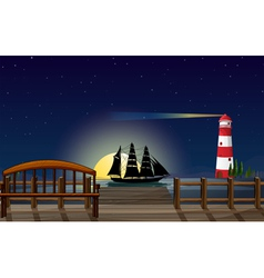A beautiful scenery at the port vector image vector image