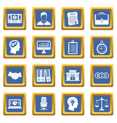 Banking icons set blue vector