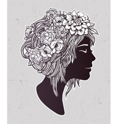 Beautiful art of a girl with flowers on her head vector