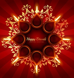 Beautiful diwali greeting background with floral vector