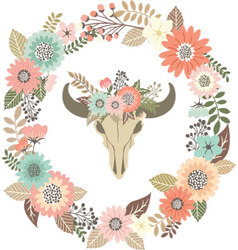 Bull Skull Floral with Wreath Laurel Invitation vector image vector image
