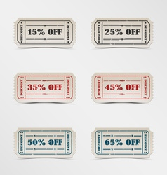 Collection discount vintage ticket vector image vector image