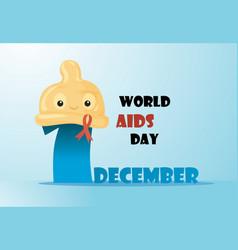 cute cartoon condom with aids ribbon vector image