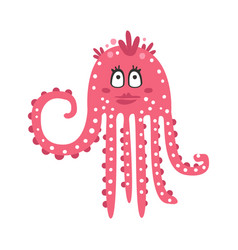 Cute cartoon pink flirtatious octopus girl vector