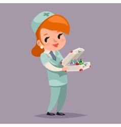 Cute medic nurse doctor character retro cartoon vector
