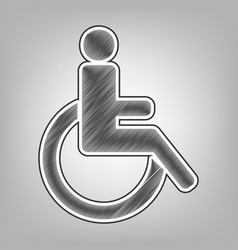 disabled sign pencil sketch vector image vector image