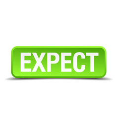 Expect green 3d realistic square isolated button vector