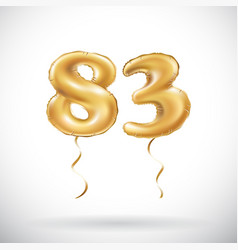 Golden number 83 eighty three metallic balloon vector
