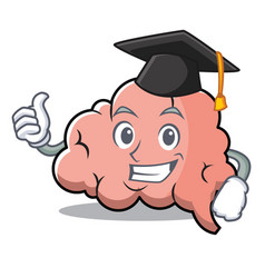 graduation brain character cartoon mascot vector image