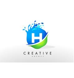 H letter logo blue green splash design vector