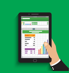 Hand holding tablet businessman read spreadsheet vector