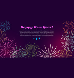 Happy new year fireworks set pyrotechnic devices vector