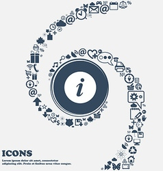 Info icon in the center around the many beautiful vector