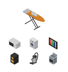 Isometric appliance set of laundry vac music box vector