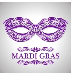 Mardi gras congratulation card with mask vector