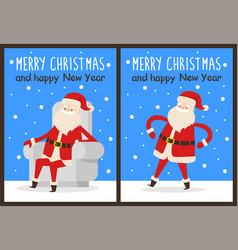 Merry christmas santa chair vector
