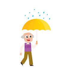 old man walks keeping umbrella in hand vector image