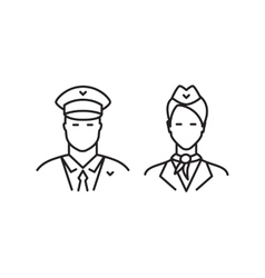 Pilot and stewardess line icons vector image vector image