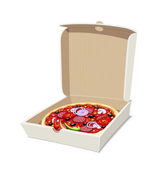 Pizza in box italian vector