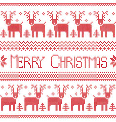 Scandinavian merry christmas nordic pattern vector