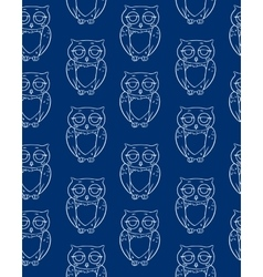 Seamless pattern with white owls silhouettes vector