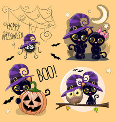 set of cute halloween vector image