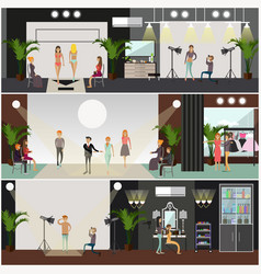 set of fashion posters banners in flat vector image vector image