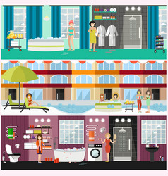 Set of spa aqua therapy concept posters vector