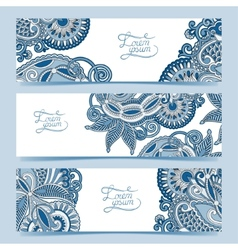 Set of three horizontal banners with decorative vector image