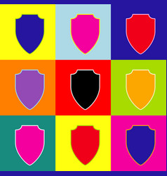 Shield sign pop-art style vector