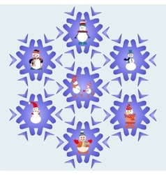 Snowman cartoons icons set vector image
