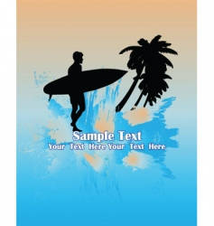 surfer in tropical background vector image vector image