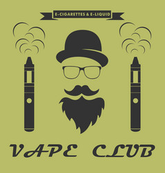 Vape club logo hipster with electronic cigarette vector