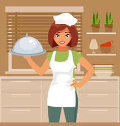Woman cook vector