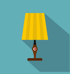 Yellow table lamp icon flat style vector
