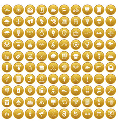 100 arrow icons set gold vector