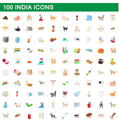 100 india icons set cartoon style vector