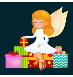 christmas holiday girl angel with wings and gifts vector image