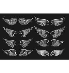 Wings emblem black elements angels and birds vector image