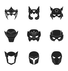 Superhero mask set icons in black style big vector