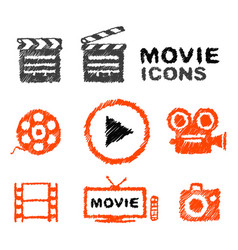 Set of hand-drawn movie icons vector