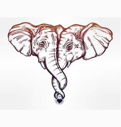 elephant huggung or kissing another with trunk vector image